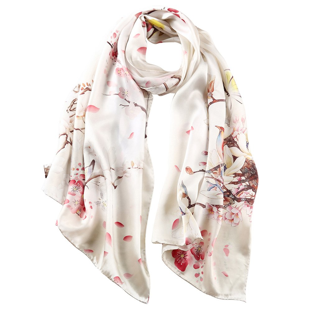STORY OF SHANGHAI Women's 100% Silk Scarf Luxury Satin Graphic Painted Shawl Wraps DY08, White, One Size by STORY OF SHANGHAI