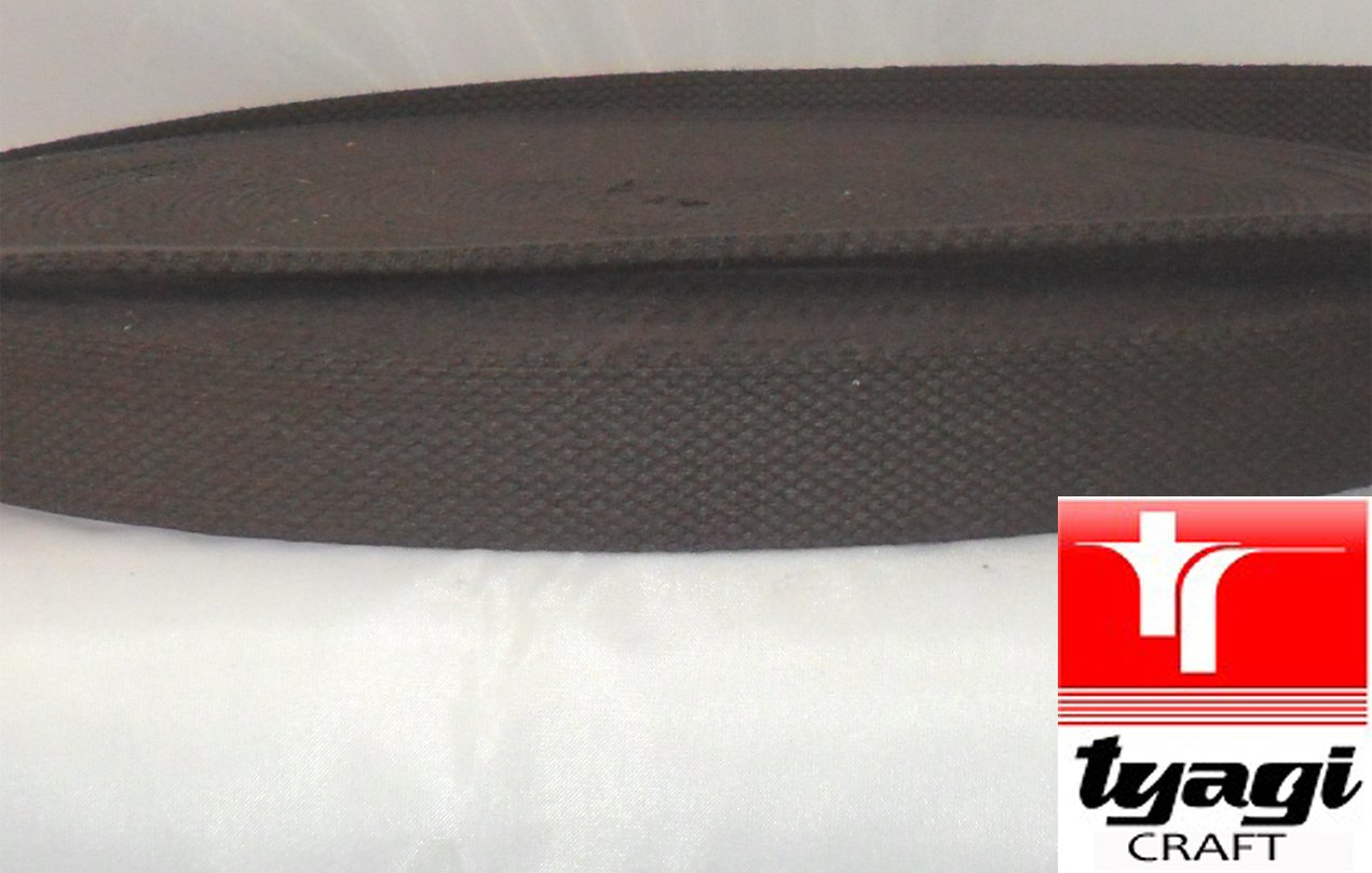 25mm Pure Cotton Tape Strong Thick Webbing Strap Tent Upholestry Bags Edging Craft Choco Brown 1MTR Tyagi Craft