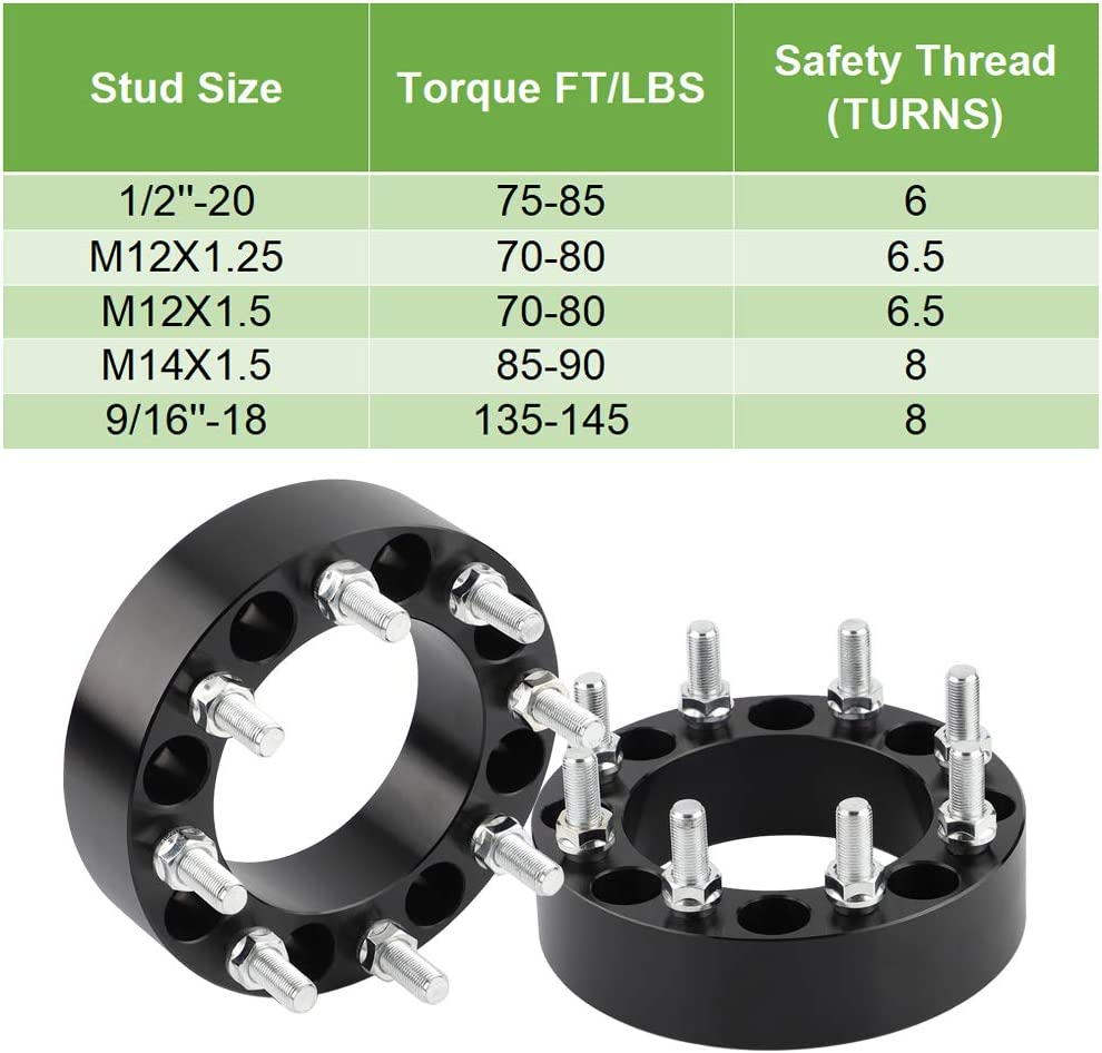 Bonus Thread-Locking Adhensives 2 inch Thick 8x165.1 Wheel Spacer for Selected Dodge Ram 2500 3500 Ford F250 F350 E250 E350 Econoline only 9//16 Studs Rying 8x6.5 Wheel Spacers