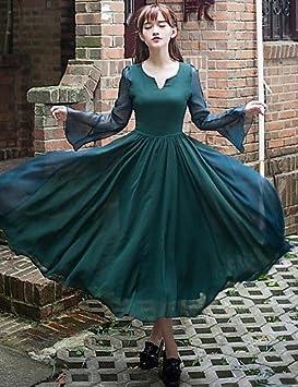 ZH de las mujeres Vintage/Casual Solid vestidos de cuello redondo,/Cuello En
