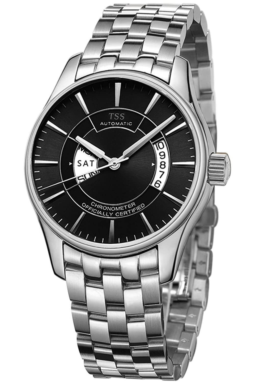 TSS Herren Schwarz Ziffernblatt Silber Hand silber Edelstahl Band Quarz-Uhrwerk Armbanduhr