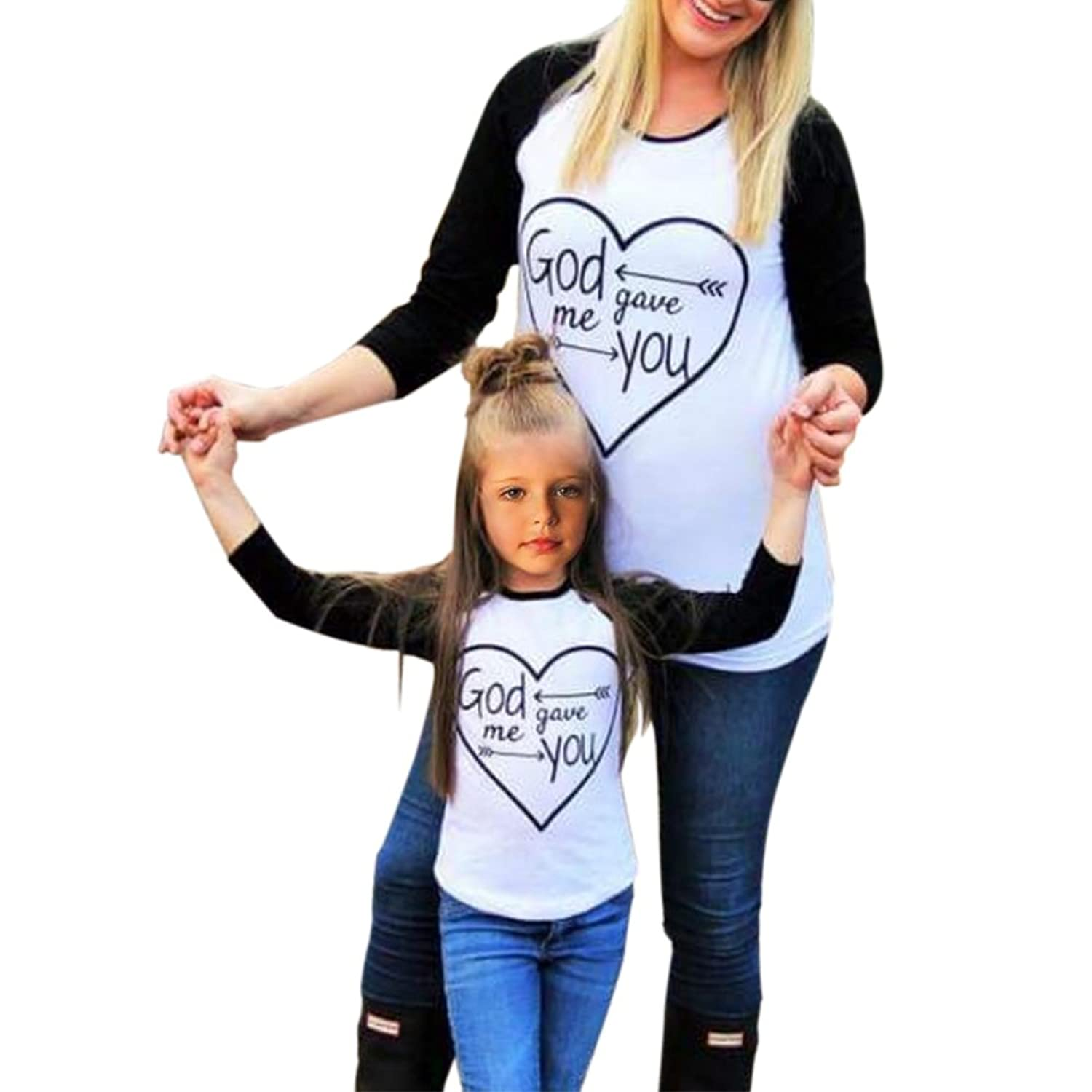 Amazon Daxin Mom & Daughter Letter Printed Long Sleeve Casual