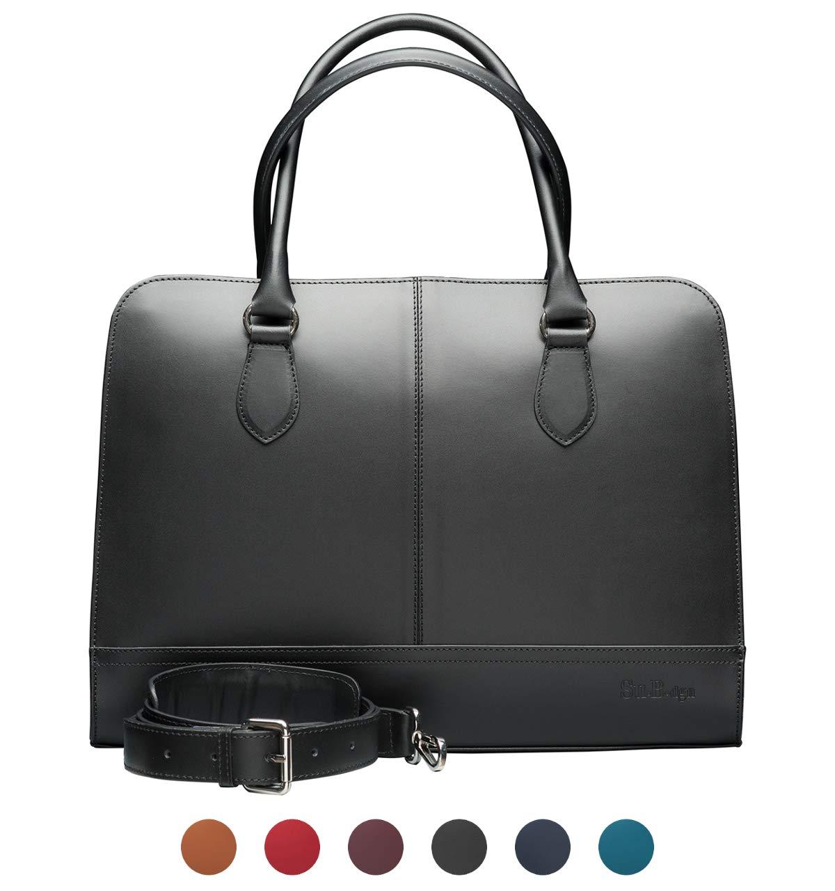 Su.B.dgn 15.6 Inch Laptop Bag with Trolley Strap for Women | Split Leather | Professional Designer Briefcase, Handbag, Messenger Bag | Black - Made in Italy