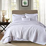 modern cotton quilt - Quilt Set King, Cotton World Li Premium 3 Piece Oversized Coverlet Set White as Bedspread Bed Cover Reversible Elegant Luxury Comfortable LightWeight - Wrinkle & Fade Resistant-King/California King