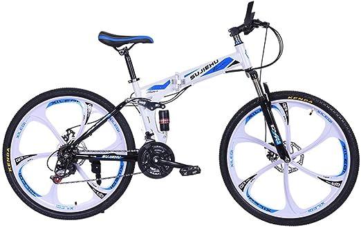 Hmcozy Bici de montaña Plegable para Adultos, Suave-Cola montaña de la Bicicleta, Doble Disco de Freno y suspensión Delantera Tenedor, de 26 Pulgadas Ruedas,Azul: Amazon.es: Jardín