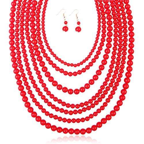 RIAH FASHION Multi Layer Beaded Strand Bubble Statement Necklace - Round Ball Chunky Drape Bib Collar 7 Strands (Red)