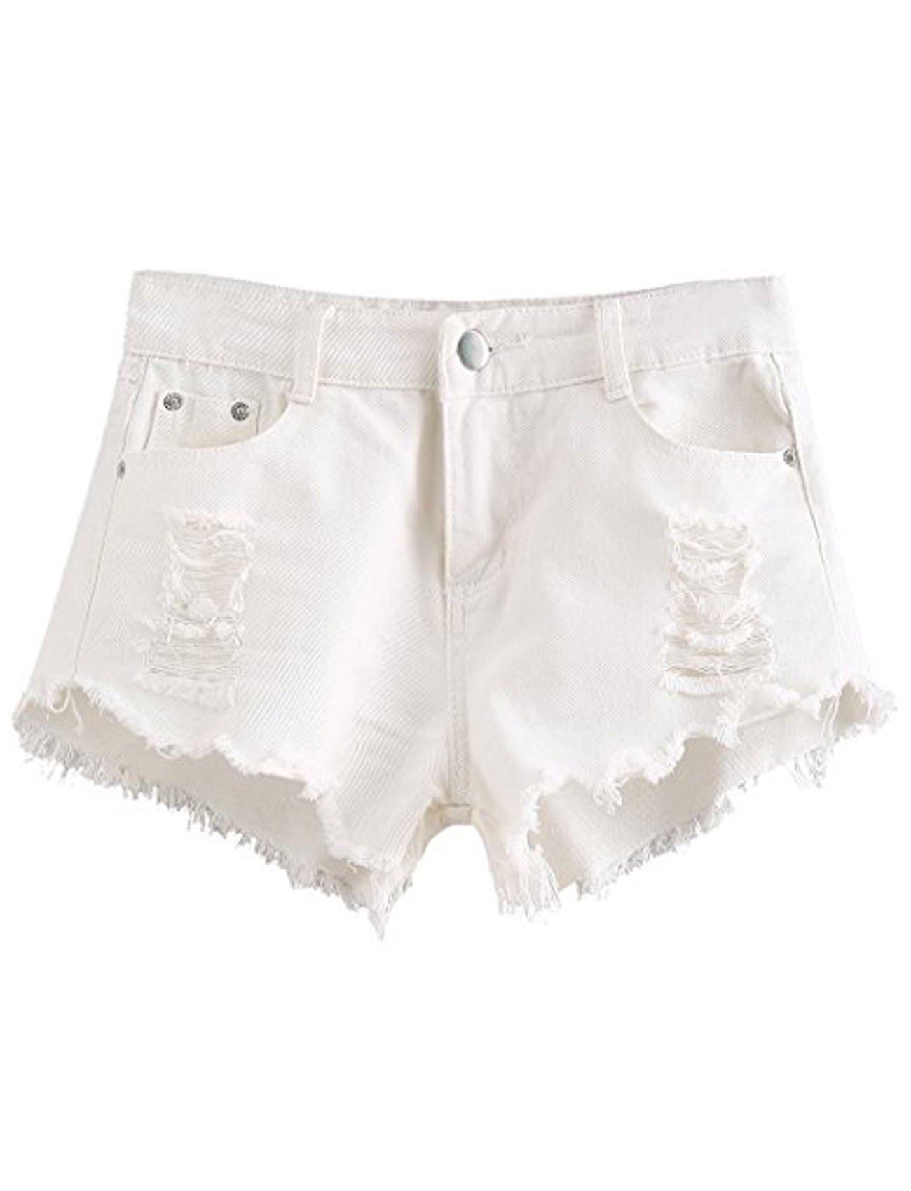 Ru Sweet Women's Juniors Body Enhancing Cutoff Pocket Distressed Ripped Jean Denim Shorts