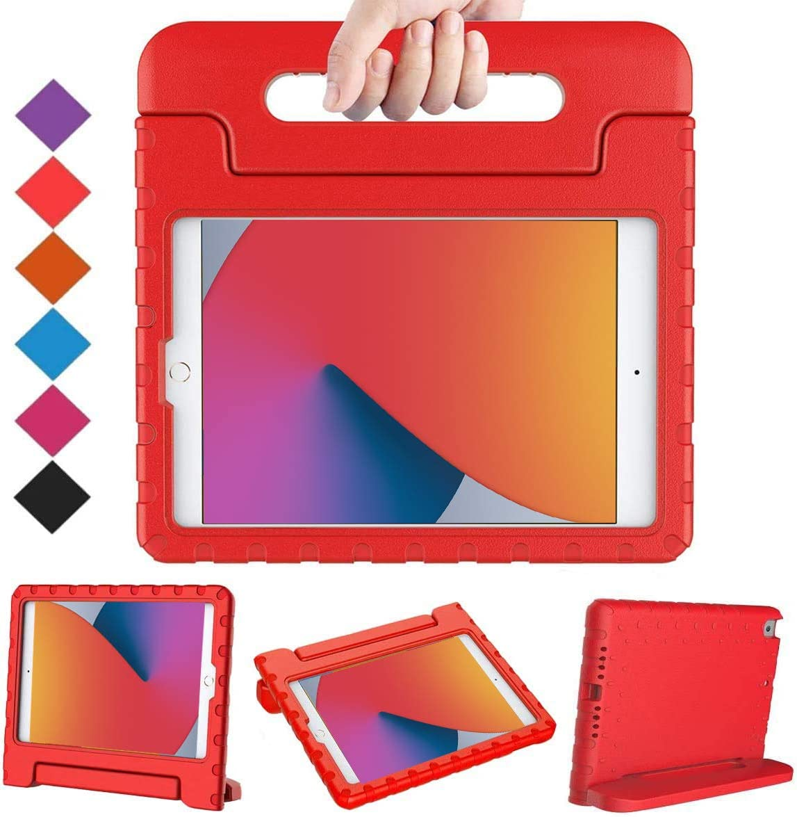 BMOUO Kids Case for iPad 10.2 2020/2019, iPad 10.2 Case, iPad 8th/7th Generation Case, Shock Proof Light Weight Convertible Handle Stand Kids Case for Apple iPad 10.2 inch 2020/2019, Red
