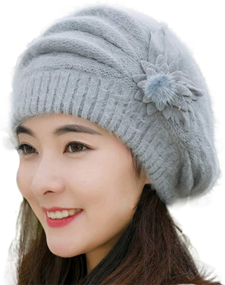 Flower Knit Crochet Beanie...