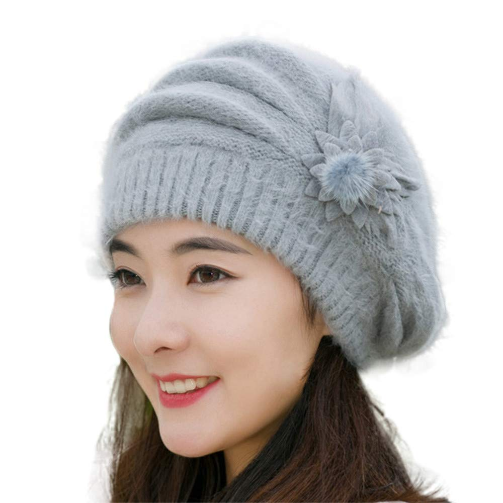24a6f9fd1af Amazon.com   EnjoCho Clearance Sale!Fashion Womens Flower Knit Crochet Beanie  Hat Winter Warm Cap Beret (Gray)   Beauty