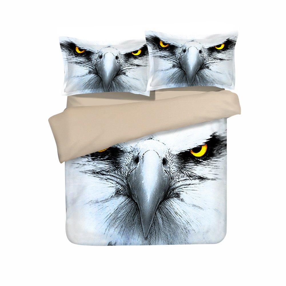 3D Animal 3 Piece Bedding Set Duvet Cover Set 3D Eagle Bedding Set 4 sizes choices