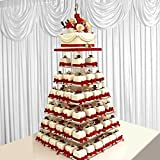 Tableclothsfactory 7 Tier Square HEAVY DUTY Acrylic Crystal Glass Clear Cupcake Dessert Decorating Stand For Birthday Xmas Party Wedding