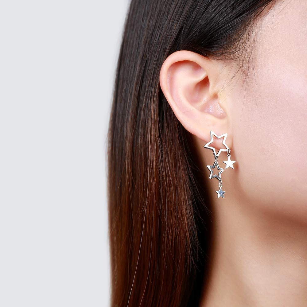 Weighing About 2.05g Craft: Electroplating Baoyilong New Accessories Fashion S925 Sterling Silver Earrings Female Personality Tassel Star Earrings Quality: S925 Pure Silver