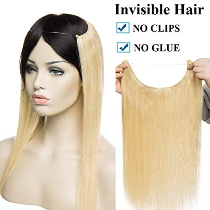 Extensiones de Cabello Natural con Hilo Invisible Sin Clip 100% Remy Pelo Natural Humano Una Pieza Liso Ajuatable Hair Extensions 20