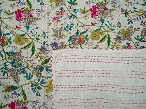 """Indian Fruit Print Kantha Quilt Handmade Gudri Bedsheet Throw Cotton Bedspread 60 X 90 """""""