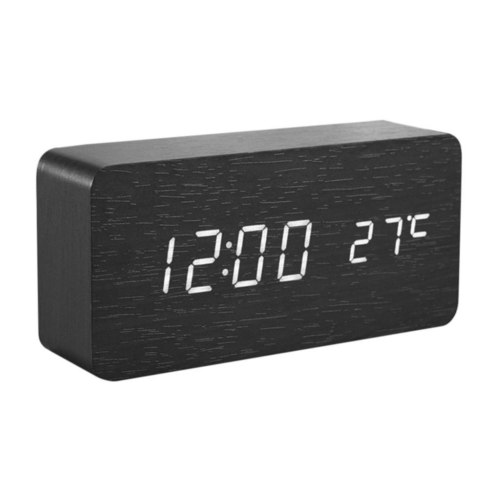 Demiawaking Sveglia Digitale a LED in Legno Naturale Orologio da Tavolo Calendario USB / AAA Controllo del Suono (Bianco)