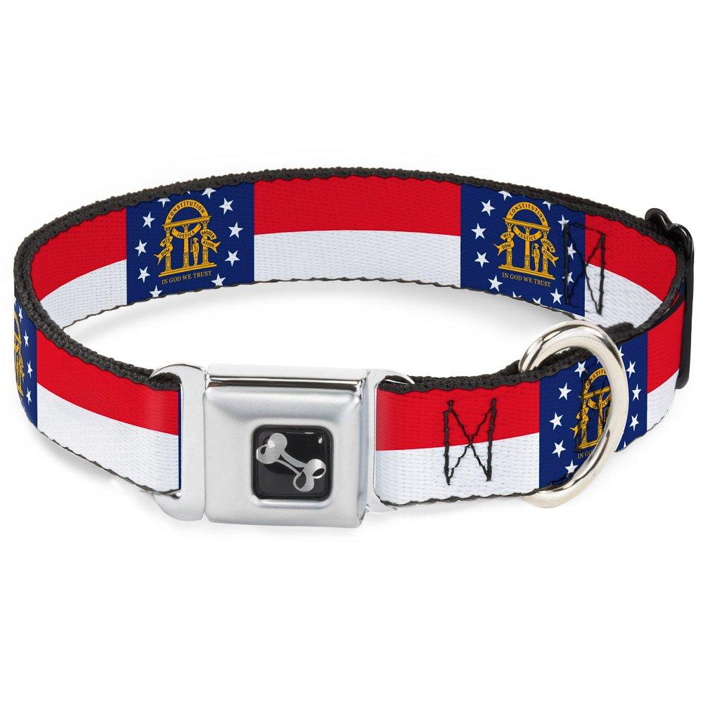 Buckle-Down Georgia Flag Dog Collar Bone, Medium 11-17