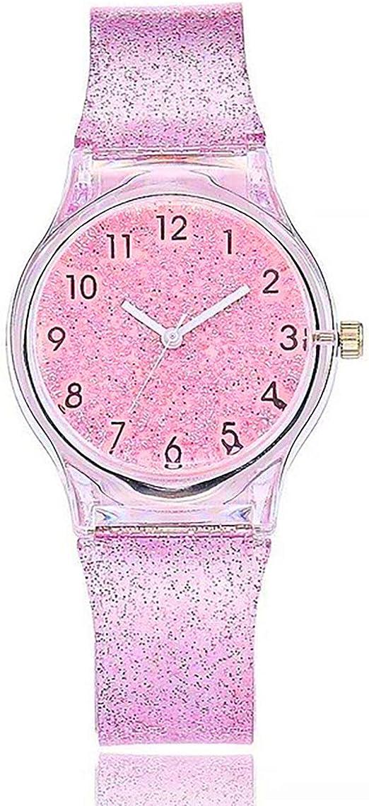 Amazon.com: Reloj para niñas, correa de silicona brillante ...