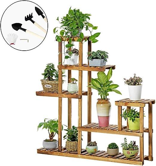 Soporte de plantas de madera Interior al aire libre 5 niveles Vertical Carbonizado Soporte de maceta múltiple Escalera de flores Escalera Estante Jardín Balcón Patio Esquina Olla Exhibidor Estante: Amazon.es: Hogar