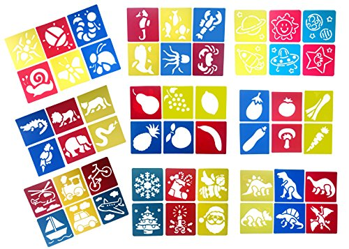 Z-Color 9 Packs(54 pieces) Washable Plastic Children's Drawing Template Board Set Toys Kids Painting Stencils Animal Fruit Transport by Z-Color