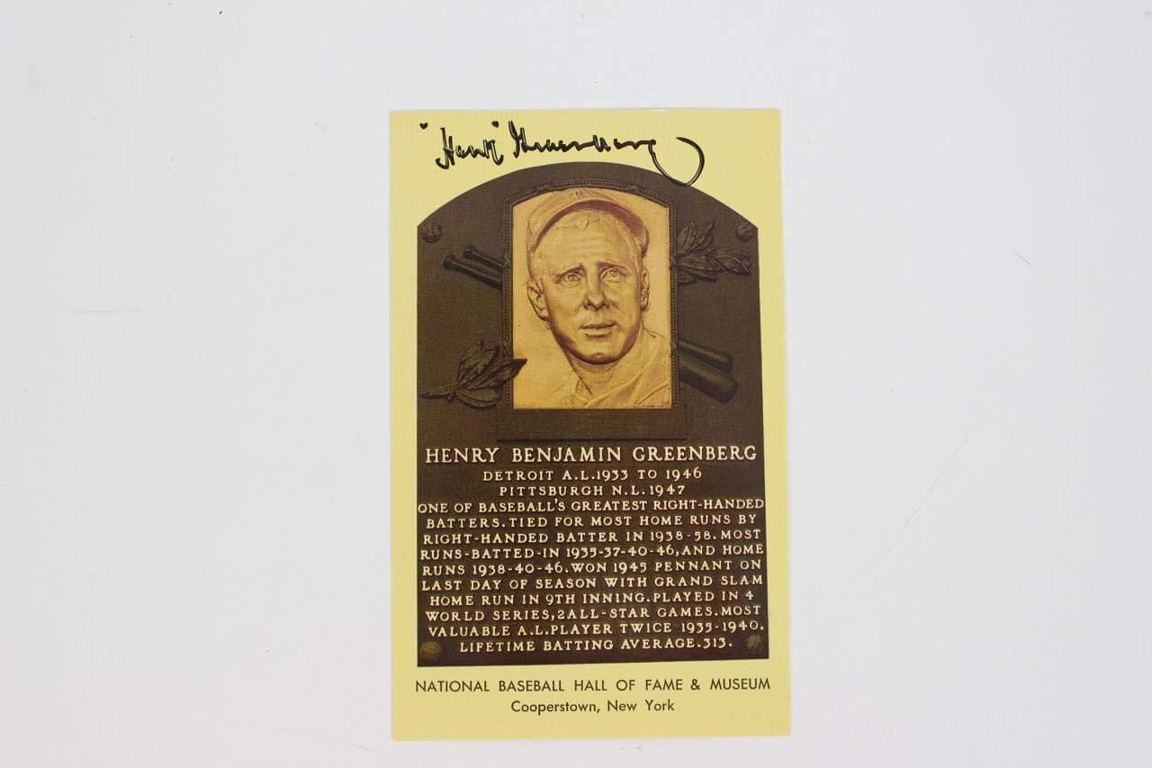 Hank Greenberg Signed Postcard COA JSA Certified MLB Cut Signatures