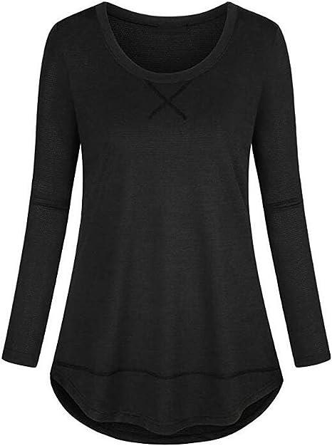 Koscacy Womens Long Sleeve Crewneck Yoga Tops Loose Fitting Basic Workout Shirt
