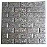 3D Foam Wall Panels Grey Color Peel and Stick Brick Wallpaper POPPAP Self-Adhesive Removable for TV Walls, Background Wall Decor 10PCS