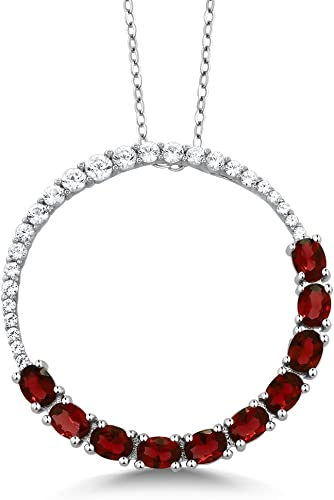 Pendant Necklace Silver Plated Black And Red Round Stone Women Fine Jewelry