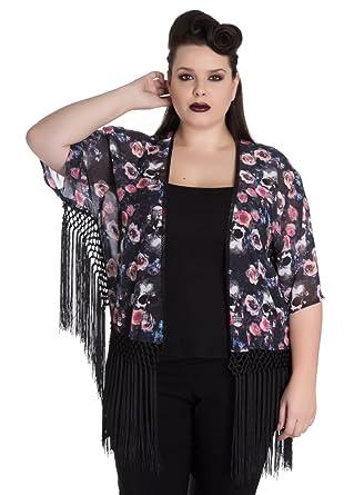 699f77e6b6f2f Spin Doctor Morgan Gothic Flowers Skulls Women s Kimono Plus Size Top Black  Size 22