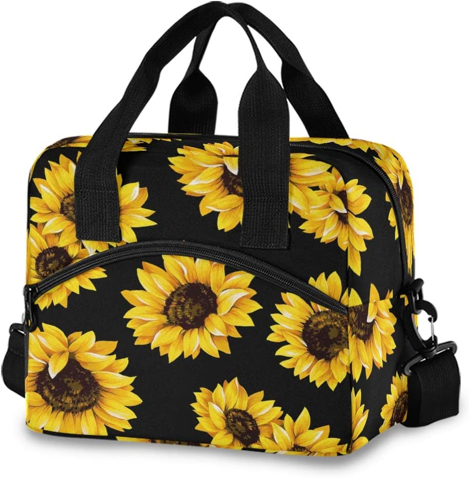 Baofu Sunflower Lunch Bag Insulated Waterproof Reusable Tote Bag Durable Portable Zipper Large Lunchbox Handbag with Strap for Kids Women Men