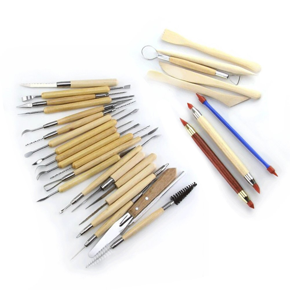 30PCS Pottery Tools Clay Sculpting Tool Set, zinnor DIY Wood Handle Pottery Carving Tool Sets – Includes Clay Color Shapers, Modeling Tools & Wooden Sculpture Knife