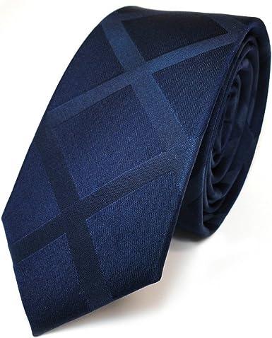 TigerTie - corbata de seda estrecha - azul oscuro azul negro ...