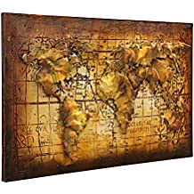 Asmork 3D Metal Art - 100% Handmade Metal Unique Wall Art - Stereograph Oil Painting - Home Decor - Ready to Hang Sculpture Artwork 3D Picture (Global Map (20 x 30 inch))