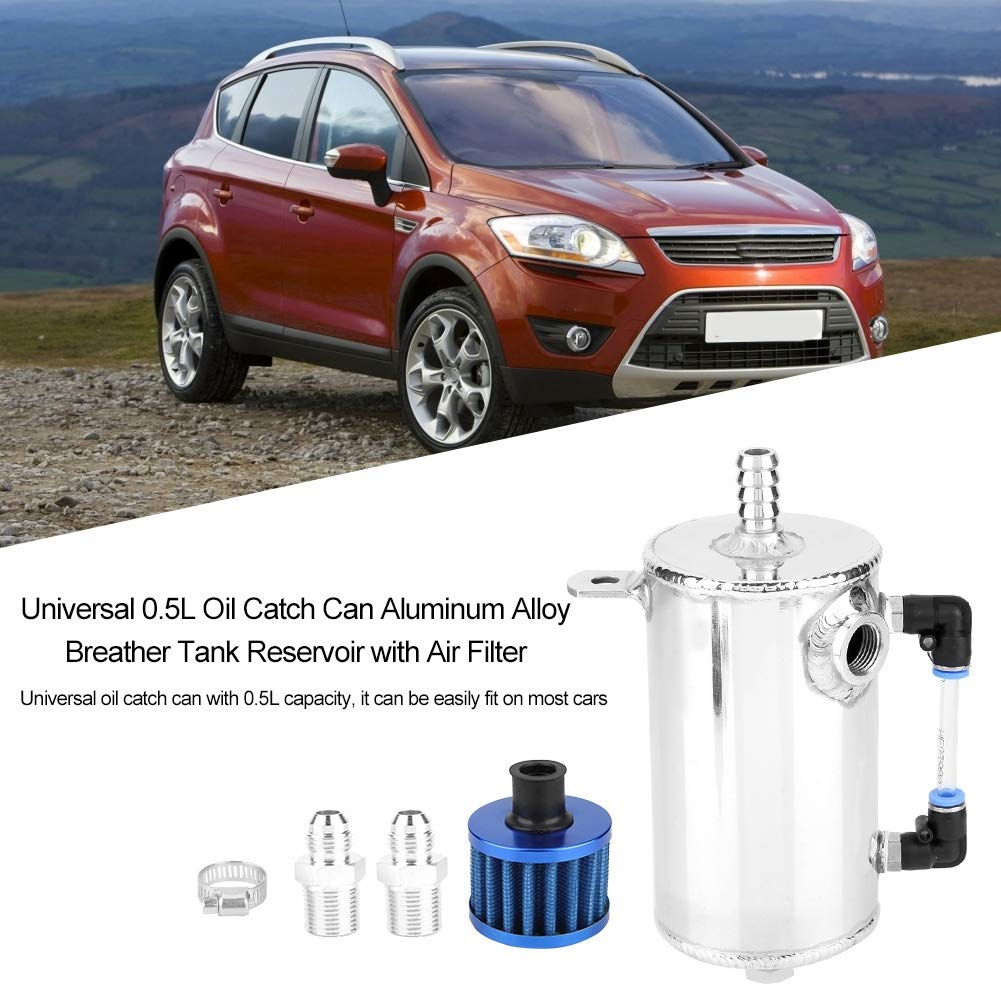 Fydun tanica per olio universale da 0,5 litri Serbatoio dello sfiatatoio in lega di alluminio con filtro dellaria Tanica per olio