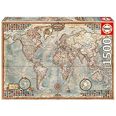 Educa Political Map of The World Puzzle, 1500-Piece: Toys & Games