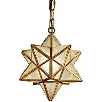 Clear Glass Moravian Star Pendant Lights Chandelier Ceiling Light Retro Style E26 11.8inch Yellow (Color : A)