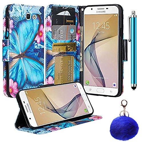 Samsung Galaxy J7 Perx Case  J7 Sky Pro Case  J7v J7 V Case  Designer Leather Flip Premium Wallet Pouch Credit Card Cover Case  Stylus Pen  Fur Key Chain Us Seller     Blue Butterfly