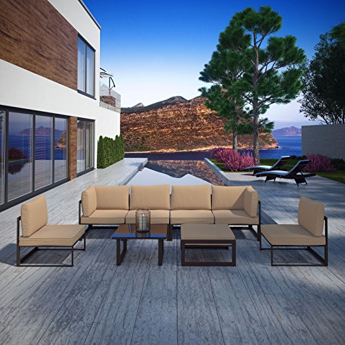 Modway EEI-1728-BRN-MOC-SET 8 Piece Fortuna Outdoor Patio Sectional Sofa Set, Seating for 6/Side Table/Ottoman, Brown Mocha