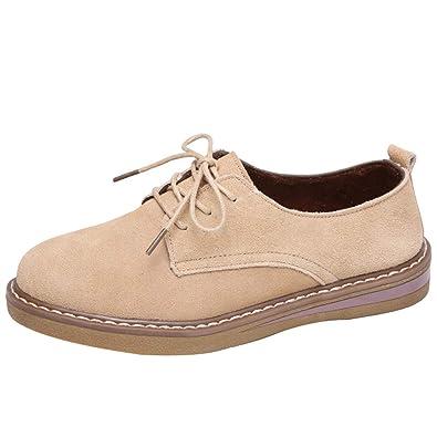 b11df8250d392 Chaussures Richelieu en Daim Femme Casual Automne Hiver Chaussure Plates  Espadrilles à Lacets Casual Comfort Loafers