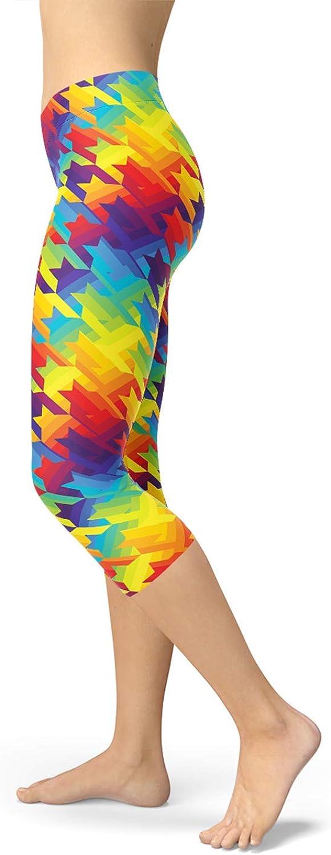 Rainbow Capri Leggings Colorful Houndstooth Pattern Mid Rise /& Calf Length Pants