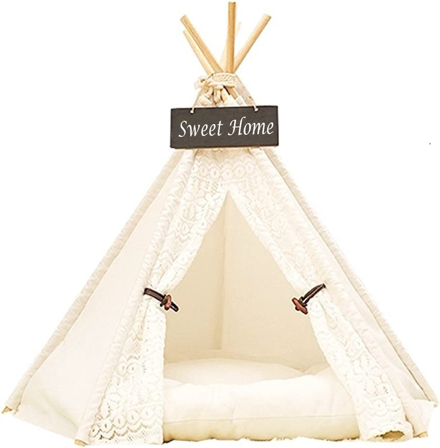Pet Teepee Dog Cat Bed DEWEL Portable Washable Dog Tent Lace Style Pet Sweet House for Dog Cat Pet Without Cushion