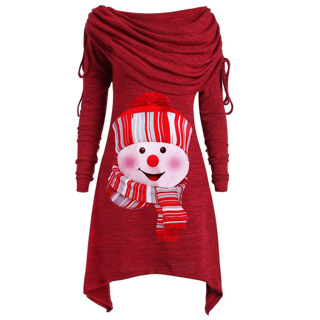 Midress Women Foldover Christmas Tunic Tops Long Sleeve Snowman Printed Long T-Shirts Casual Loose Pullover Tunic Top by Midress