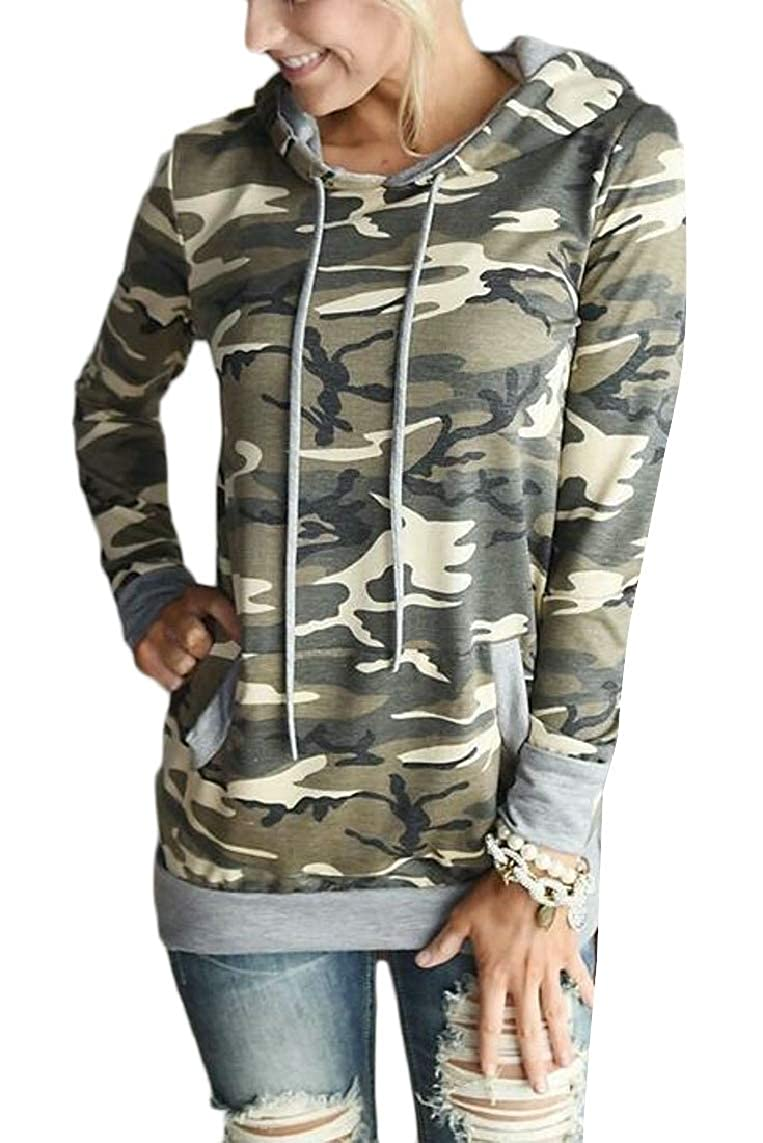 Yayu Womens Long Sleeve Camouflage Print Pullover Hoodie Blouse Tops