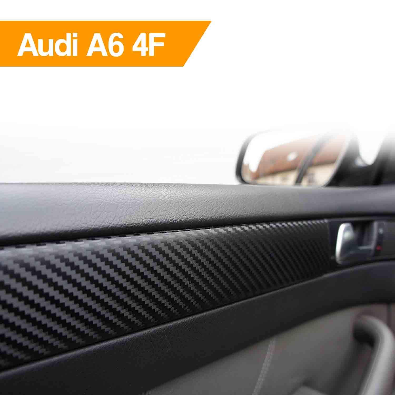 WIZUALS Set de embellecedor de moldura de puerta de automvil, diseo de fibra de carbono, 15 lminas, para A6 4F: Amazon.es: Coche y moto