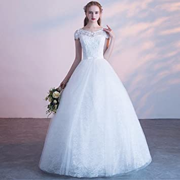 AN Vestido de novia primavera y verano novia se casó con encaje coreano delgado delgado simple