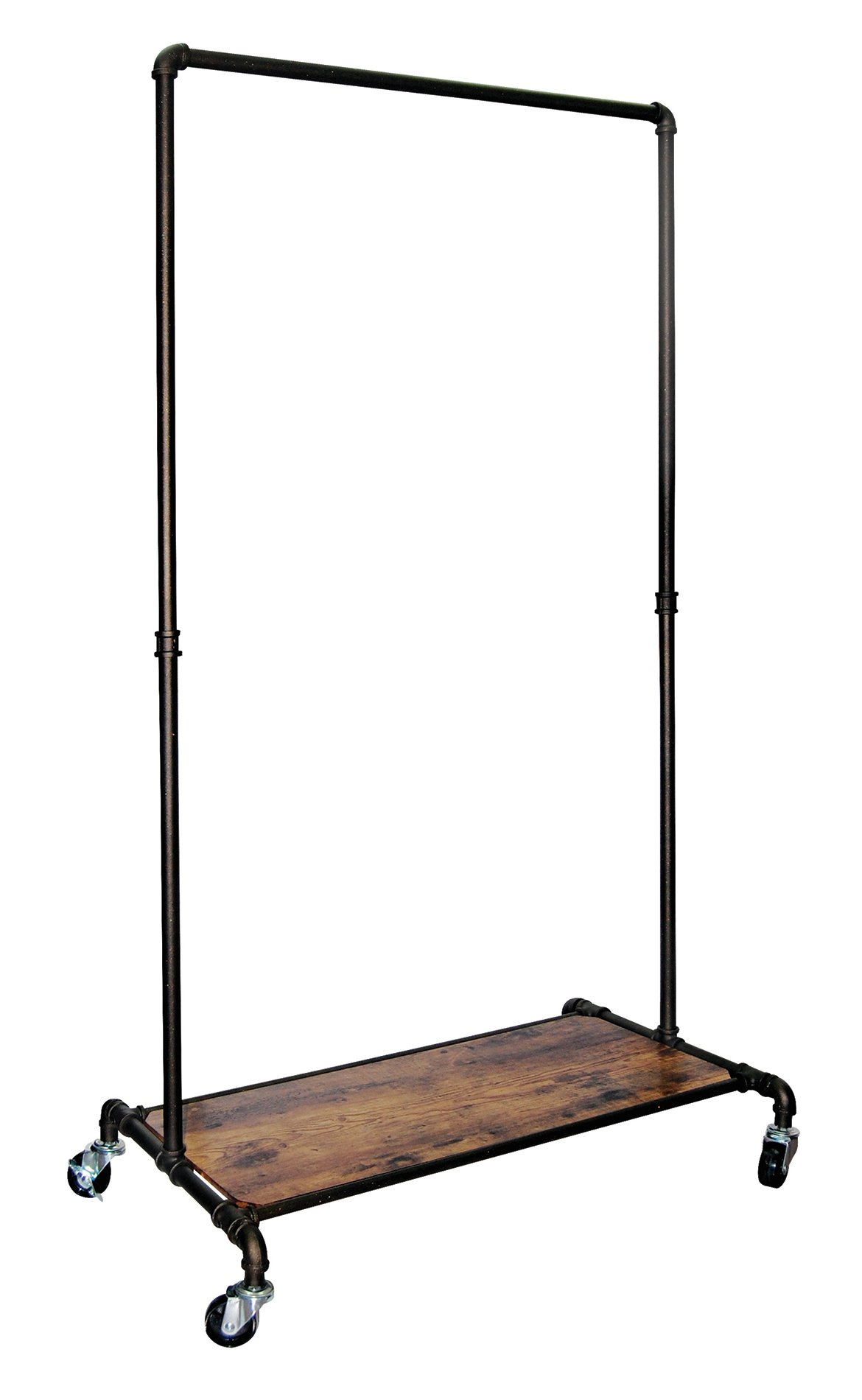 REAL HOME Innovations 028-28004 Real Home Modern Industrial Style Garment Rack with Wood Shelf,Satin Pewter Finish