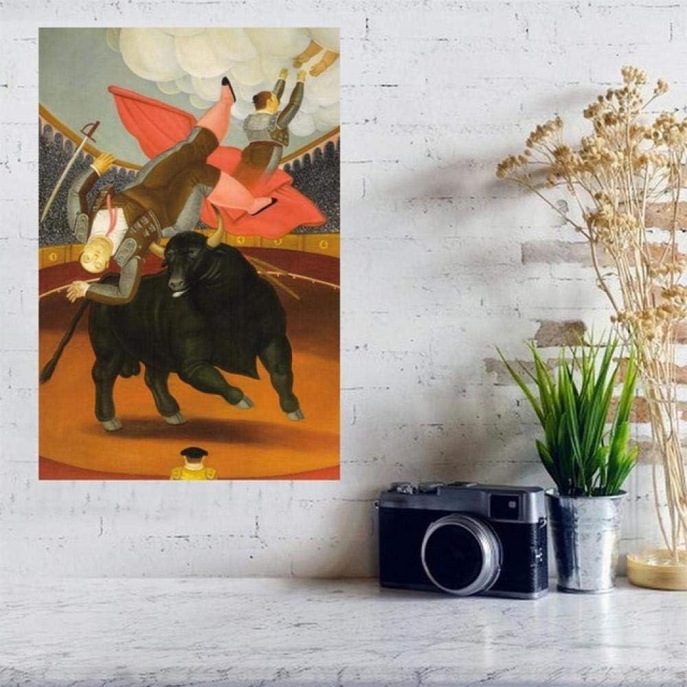 XuFan Lienzo decoraci/ón de Pared impresi/ón Cartel taurino Pared de Tela de Seda Carteles e Impresiones decoraci/ón del hogar Pintura 60x90cm Sin Marco