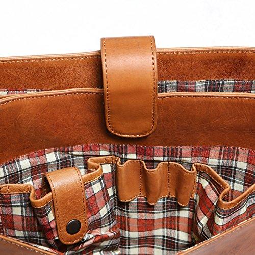Solo Pelle Leder Messenger Tasche / Umhängetasche aus echtem Leder Modell: 4012 (Vintage-Braun) (geeignet für 15,6 Zoll und 17 Zoll) Vintage-Braun