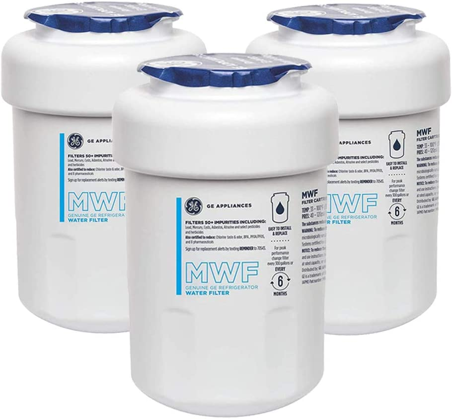 GЕ MWF Refrigerator Water Filter SmartWater Fridge Water FilterReplacement for GE MWF,3-Pack