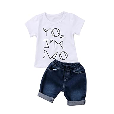 fdf1e5cf2 Toddler Baby Boys Clothes Summer White Short Sleeve T-Shirt + Denim Shorts  Pants Outfits
